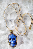 boho lapis skull necklace