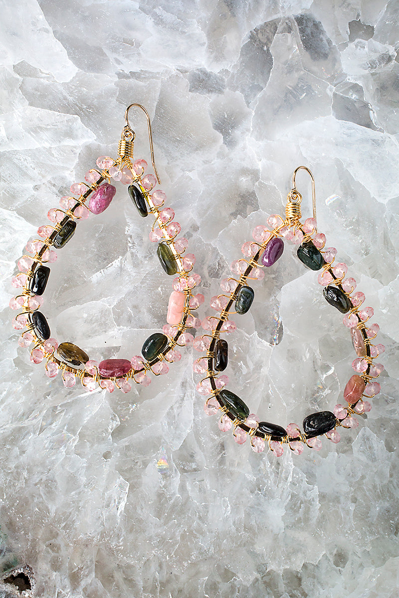 Wire wrapped rainbow tourmaline earrings