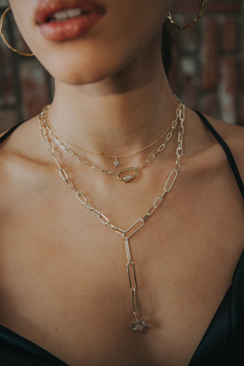 layered paperclip chain necklaces