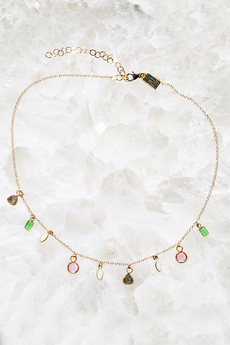 delicate rainbow gemstone necklace