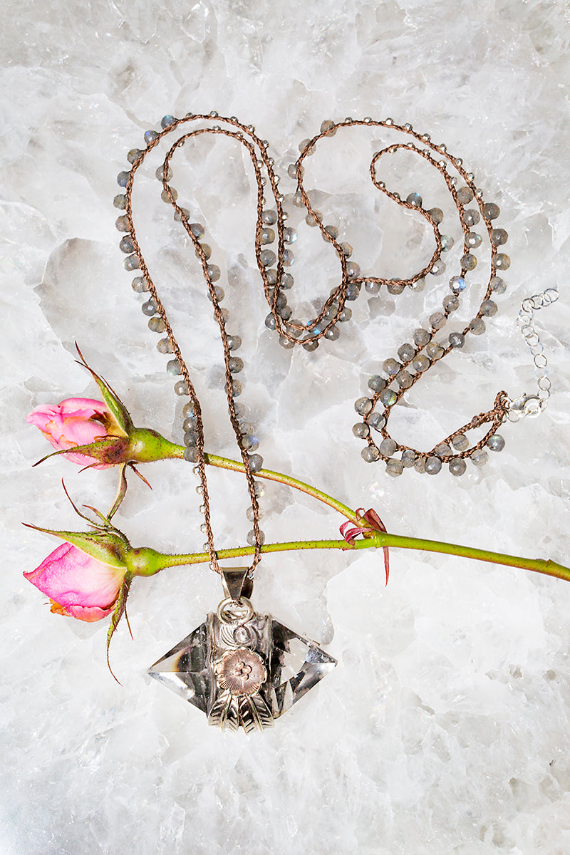 rose and feather crystal necklace