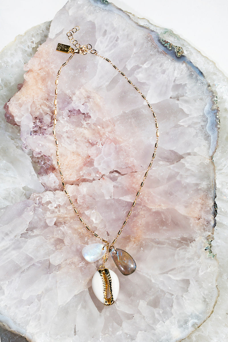 shell rainbow moonstone and labradorite necklace