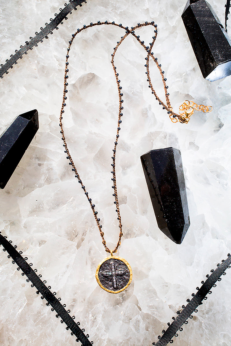hammered cross coin necklace