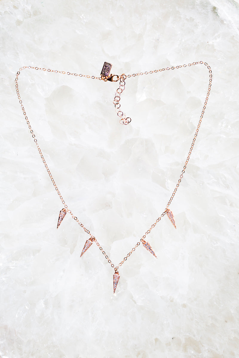 Rose gold dainty spike necklace