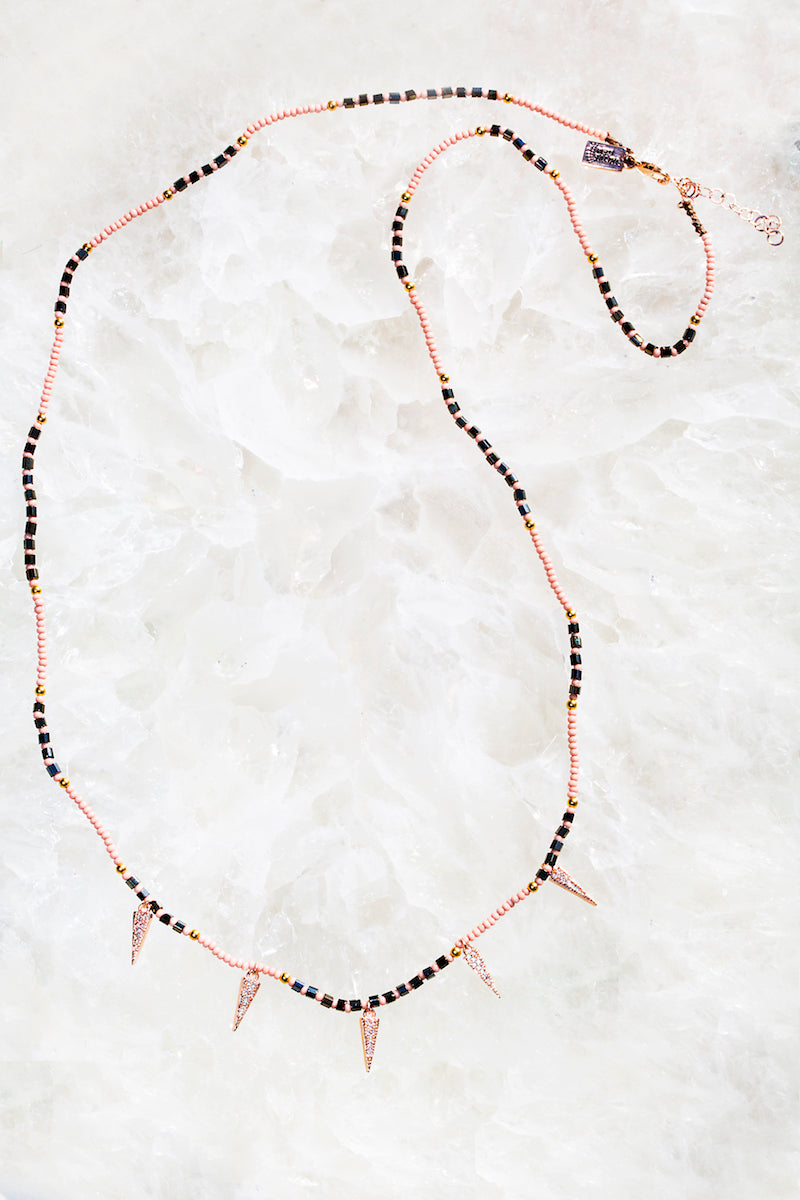 Rose gold tiny beaded spike necklace