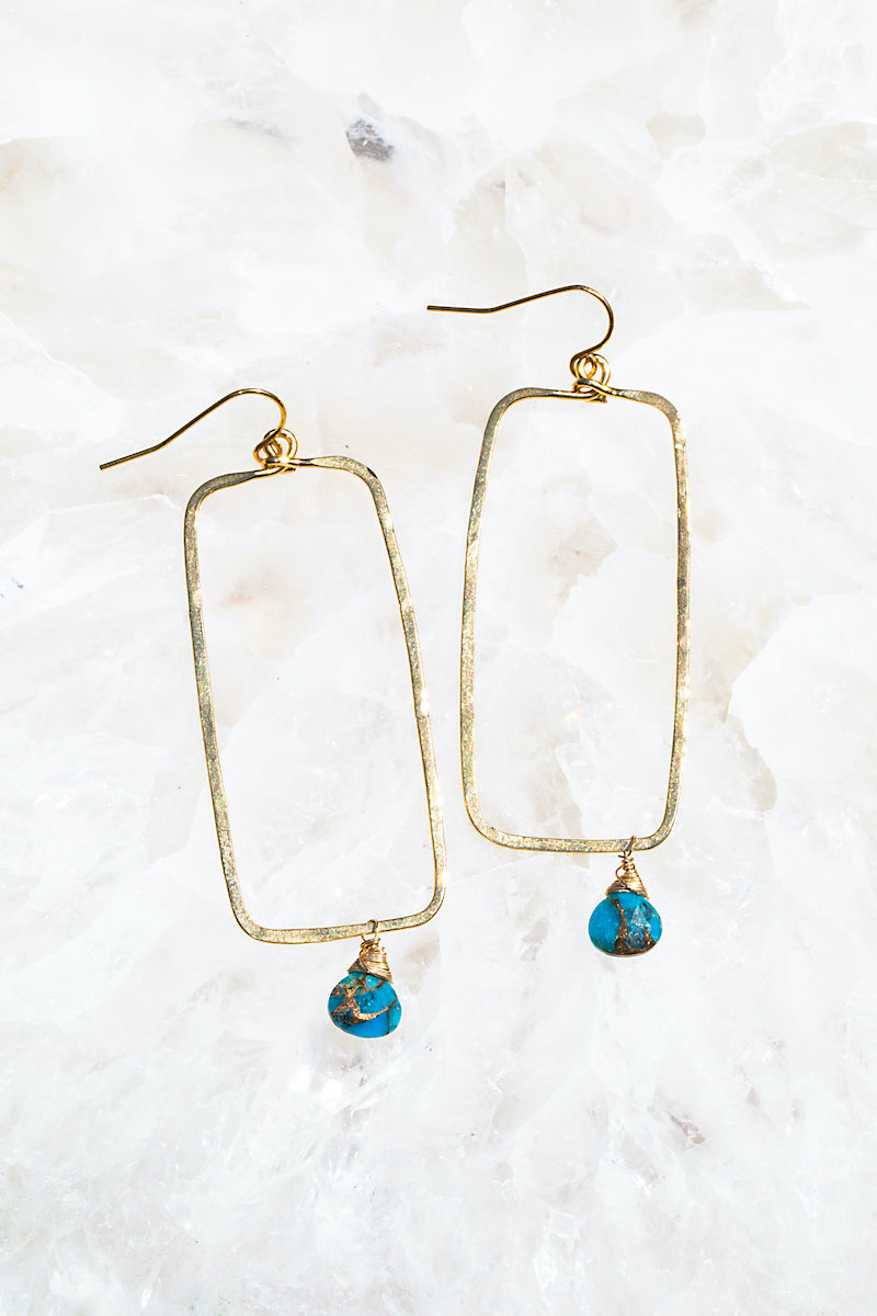 Turquoise rectangle hoops