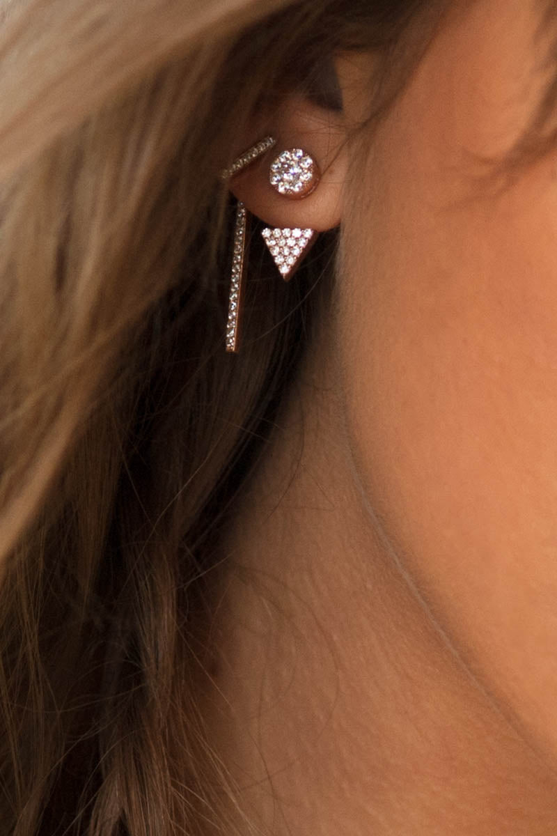 Rose gold ear jackets