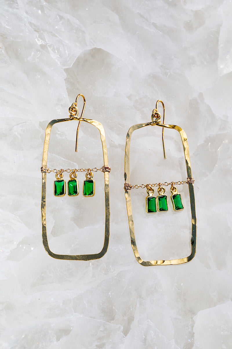 Green emerald hammered hoops