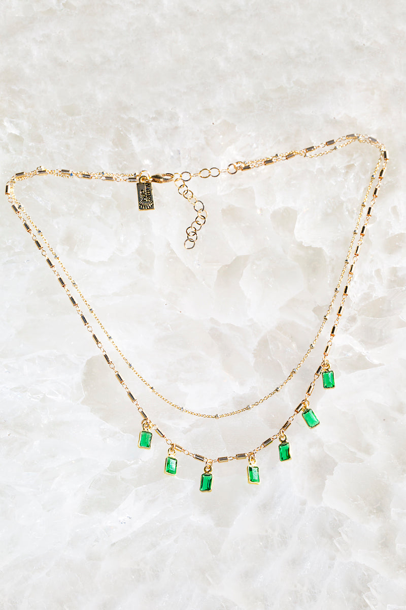 tiny emerald layered necklace