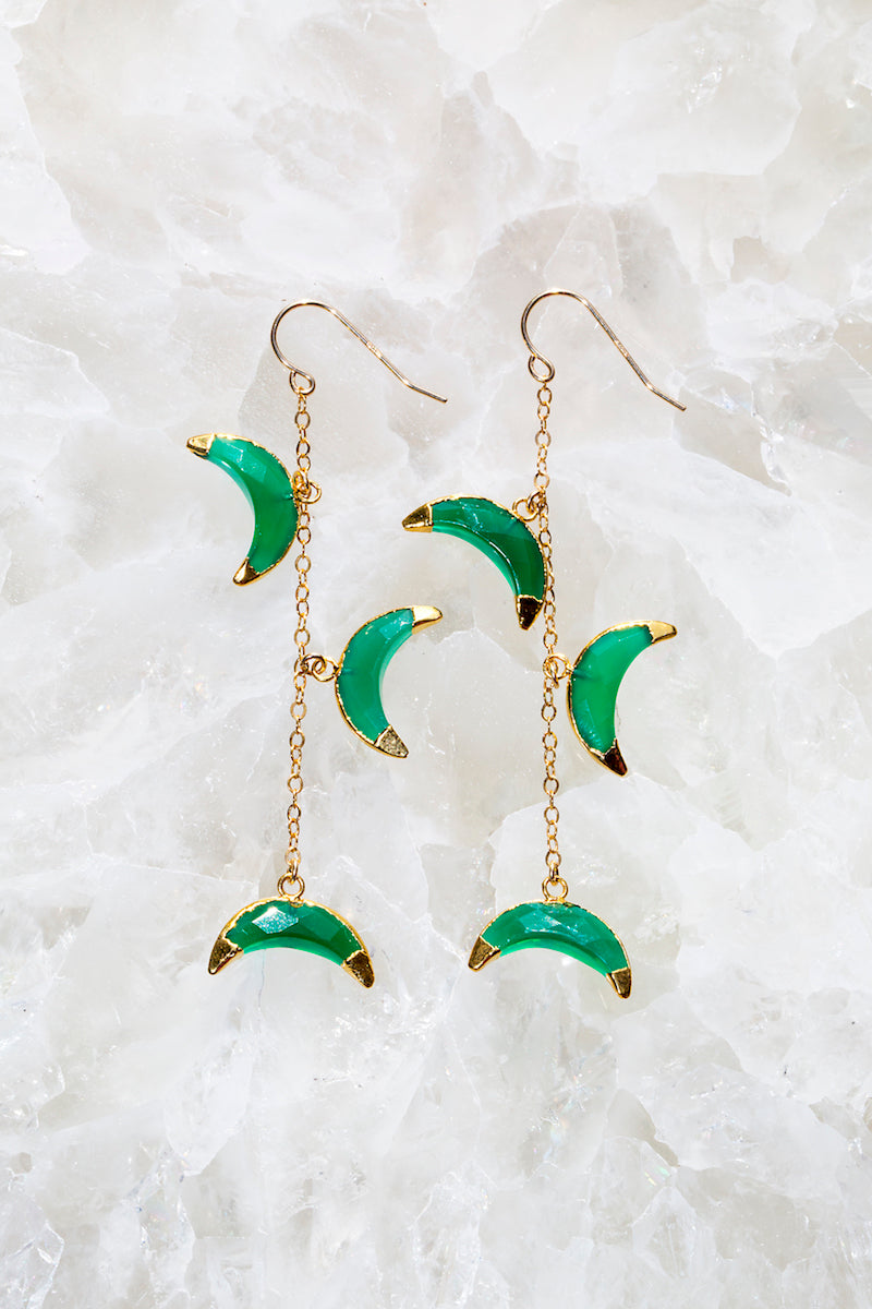 Green Onyx drape earrings