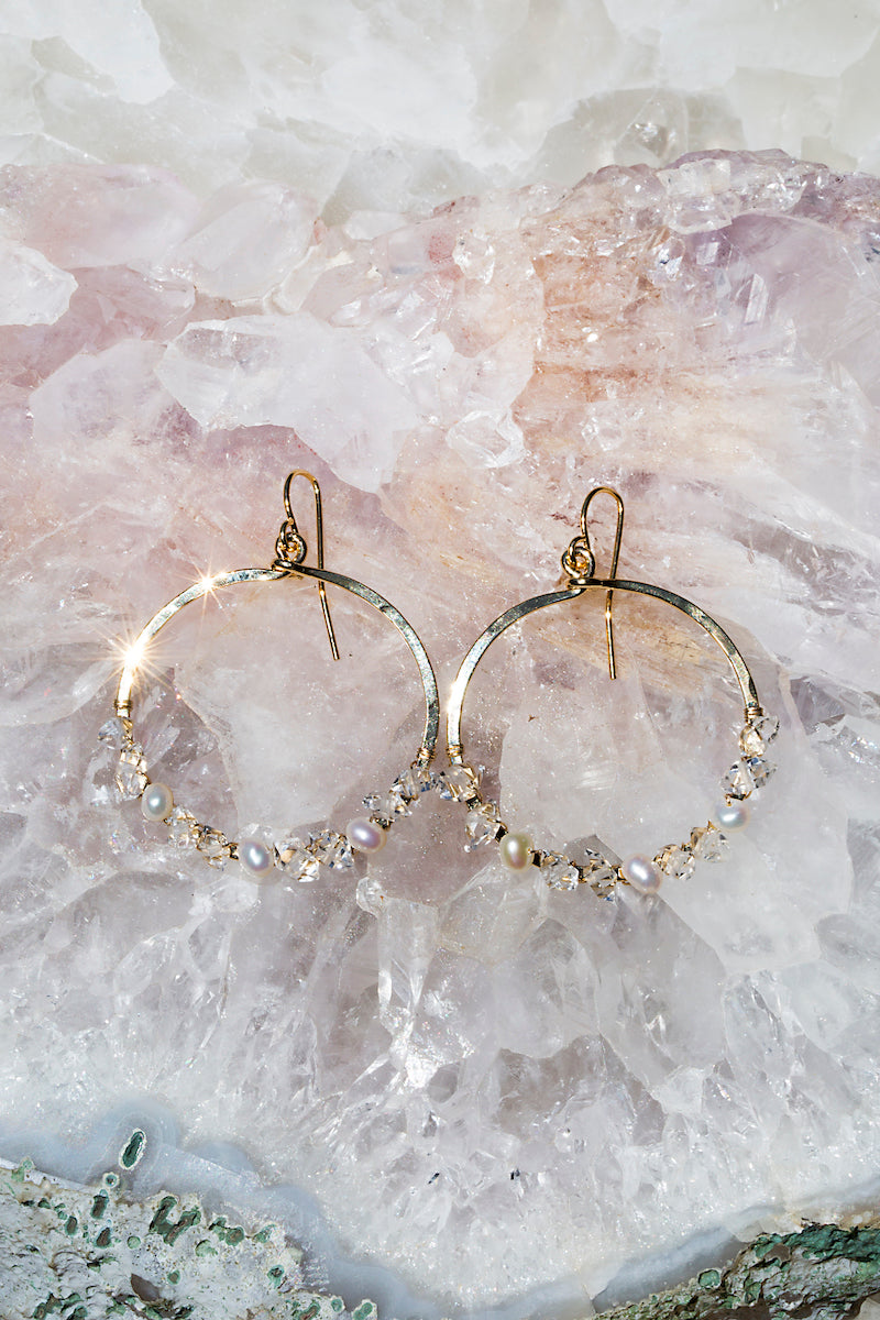 herkimer diamond wire wrap hoops