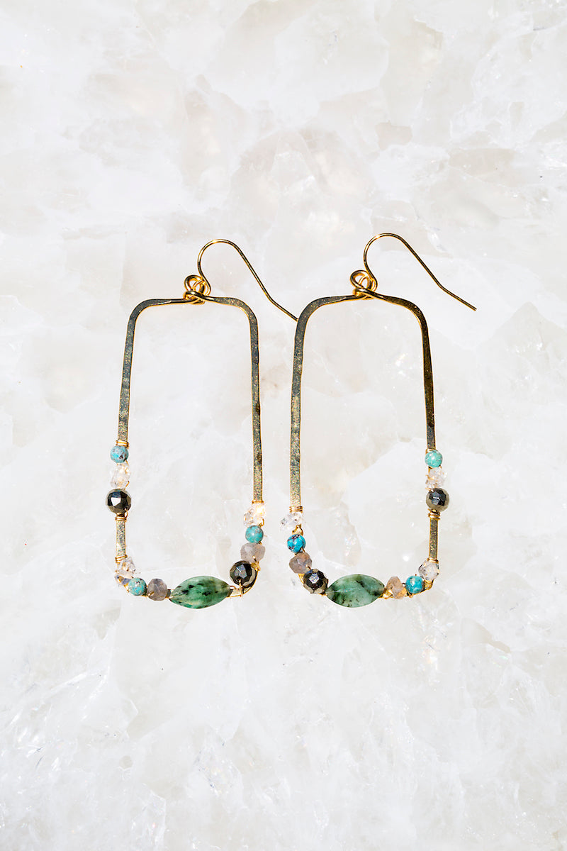 Green emerald gemstone hammered hoops