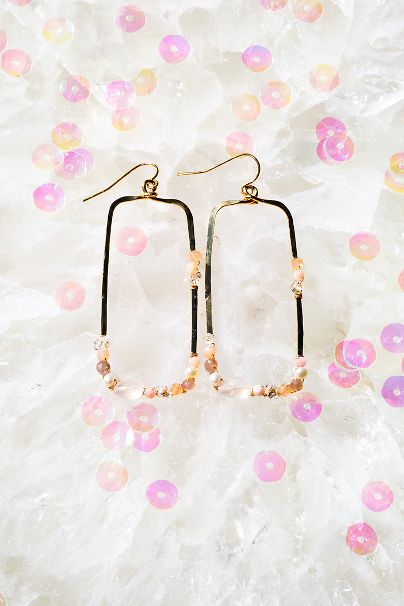 multi rose quartz hammered rectangle hoops