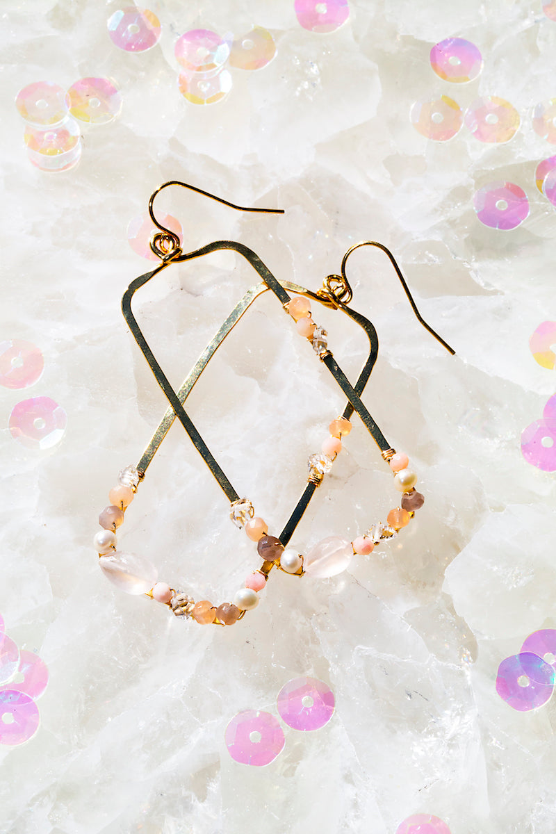 Rose quartz rectangle hoops