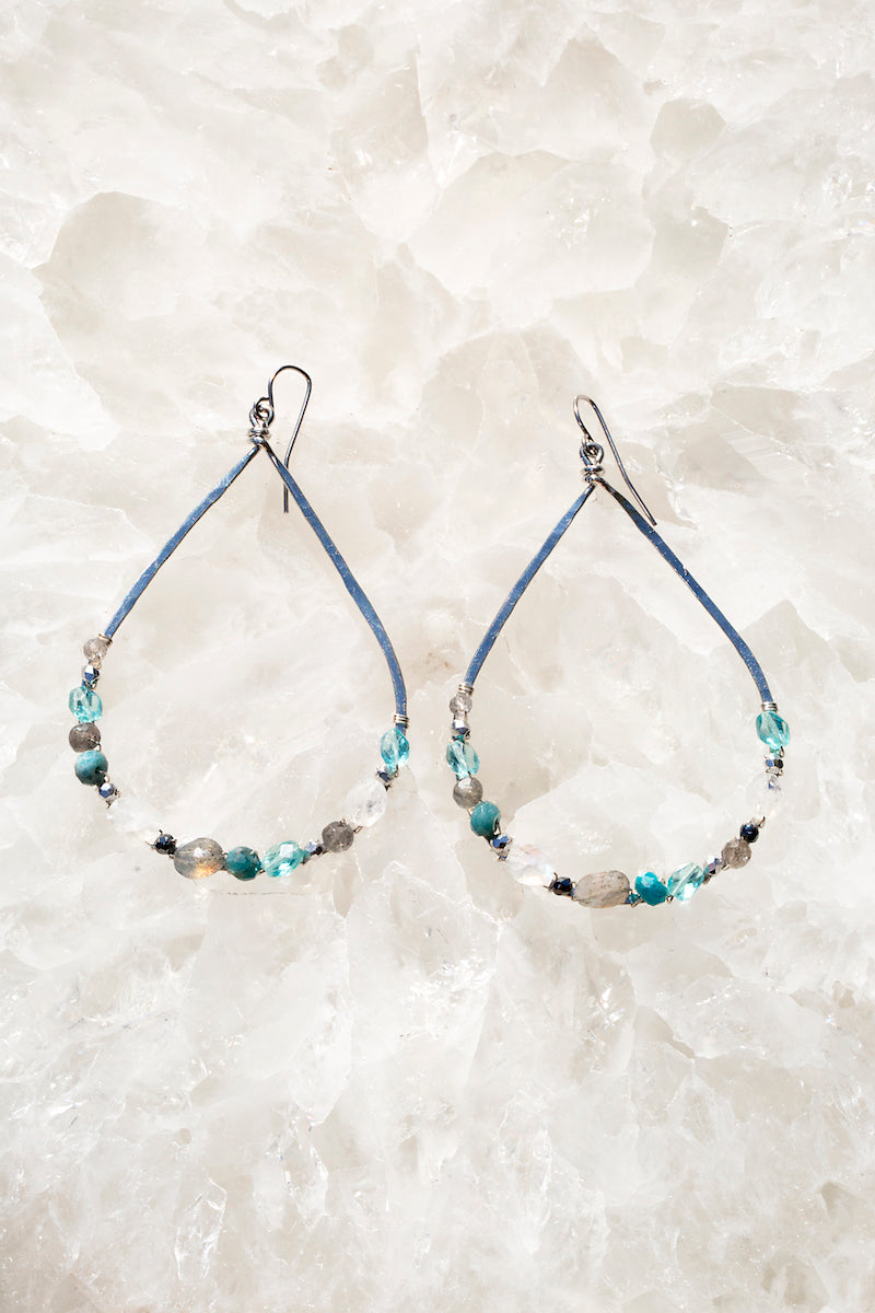 Indigo apatite sterling silver earrings