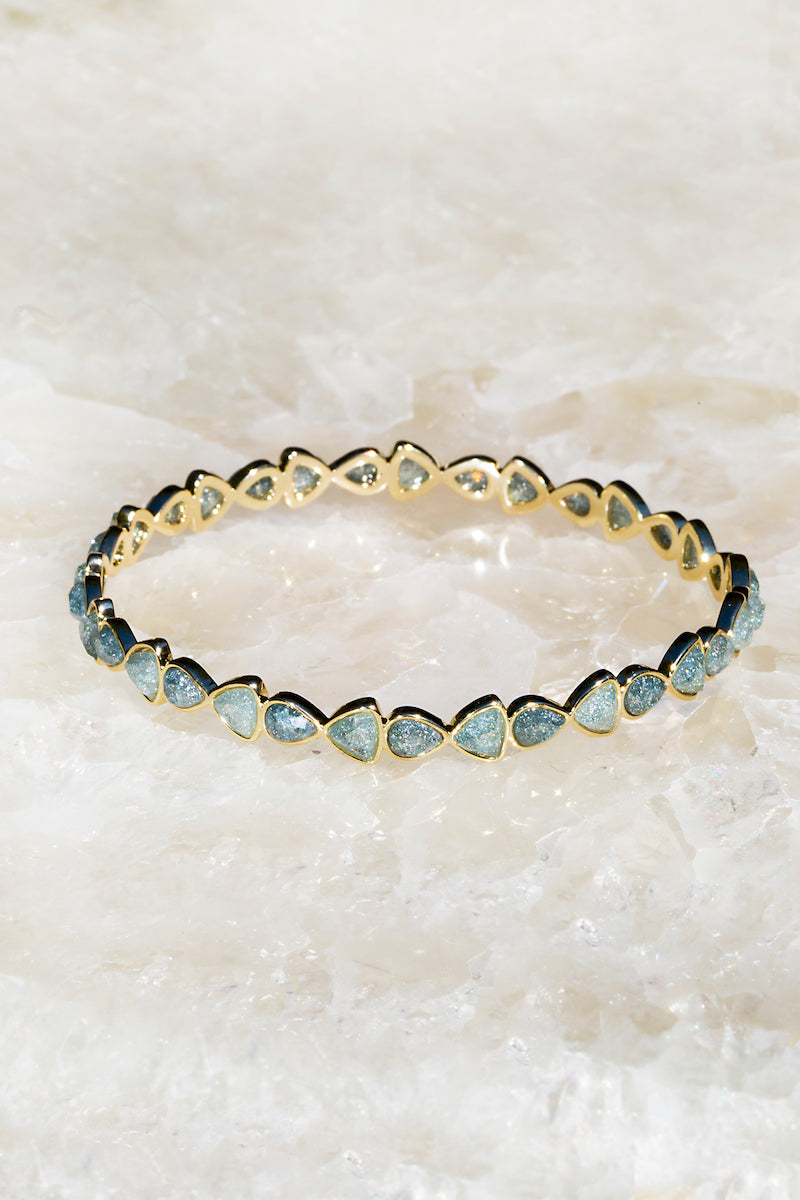 Gray raw diamond bangle