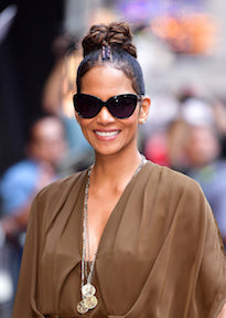 layered coin necklaces worn by halle berry