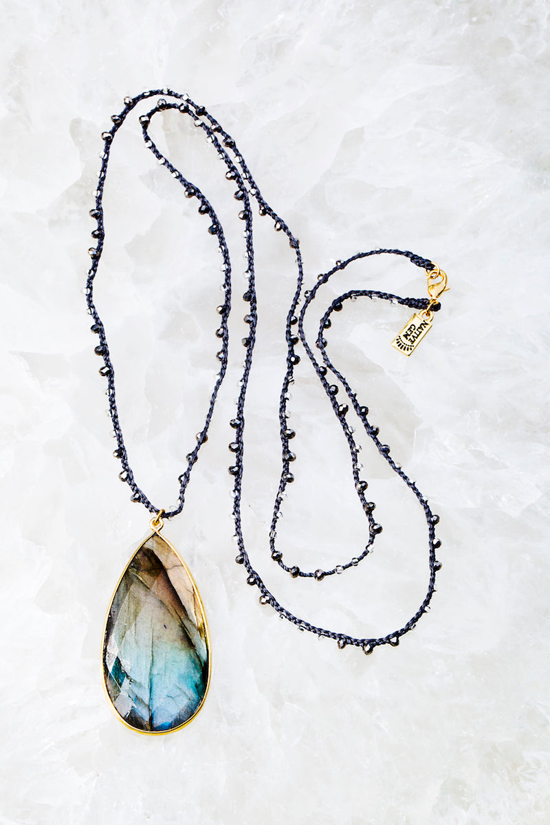 large labradorite teardrop long necklace