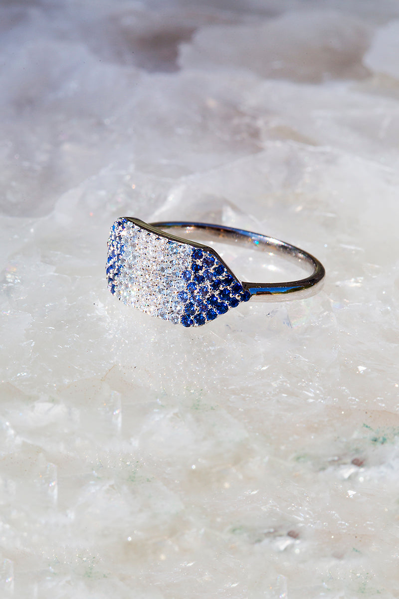 Ombre blue silver gemstone ring