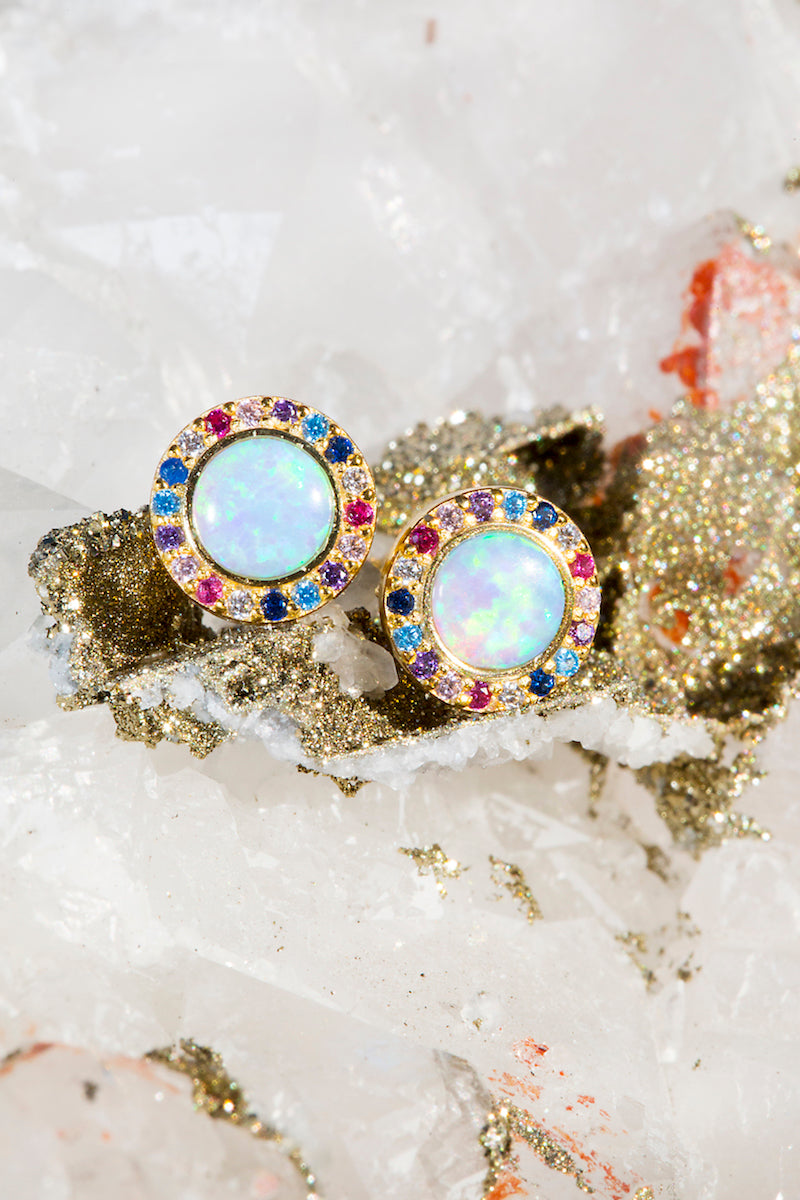 Rainbow opal stud earrings