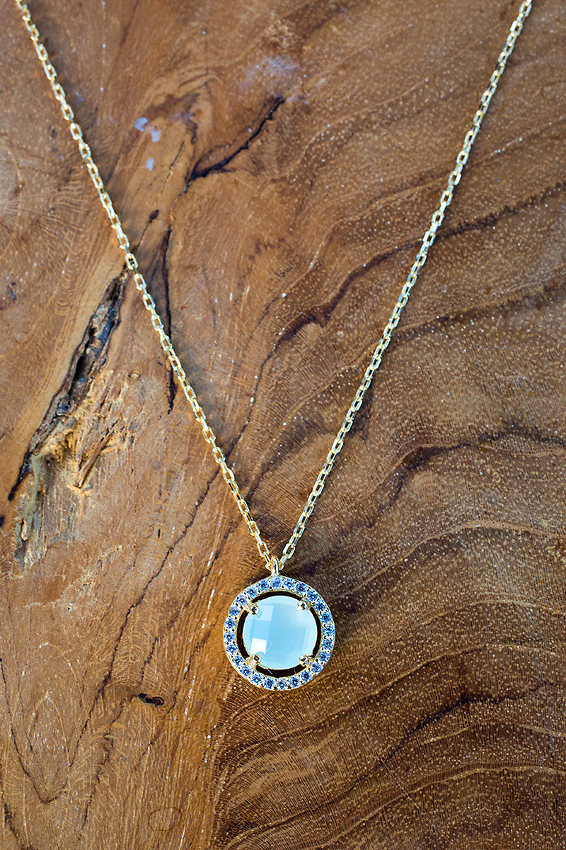 tiny aqua circle necklace