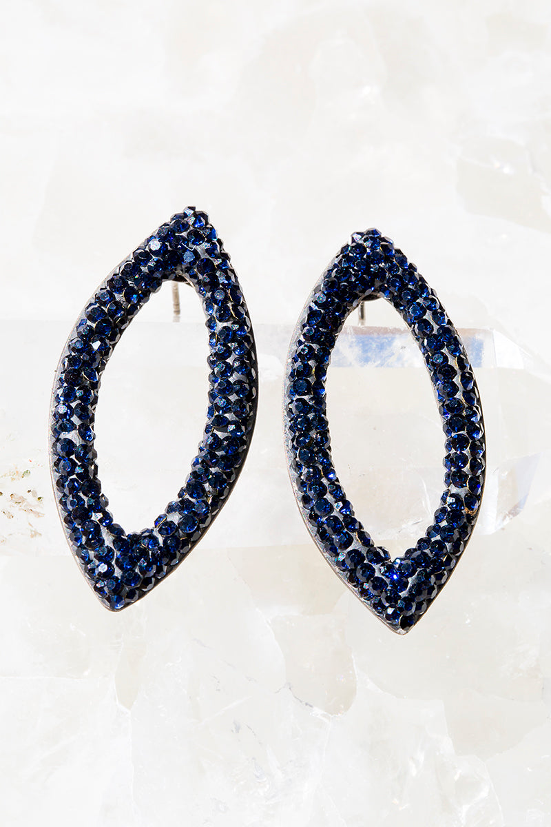 navy crystal marquis stud earrings