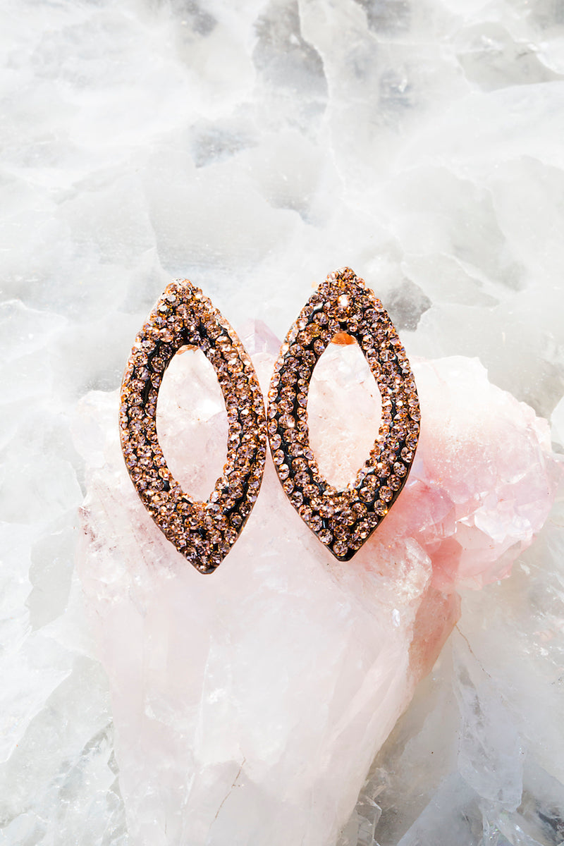 Champagne crystal marquis earrings