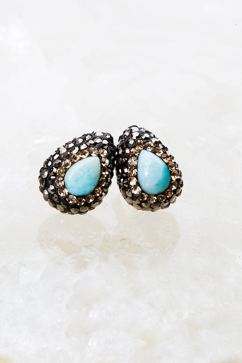 Larimar gold stud earrings