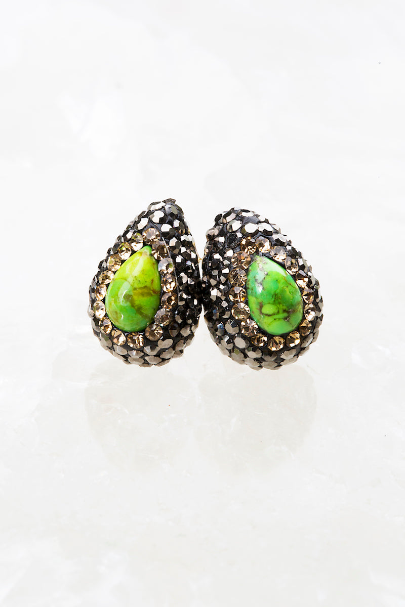 green turquoise stud earrings