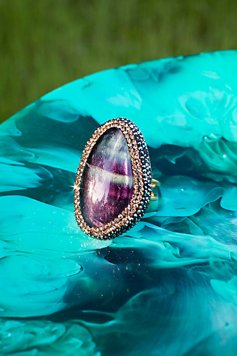Oversize purple rainbow cocktail ring