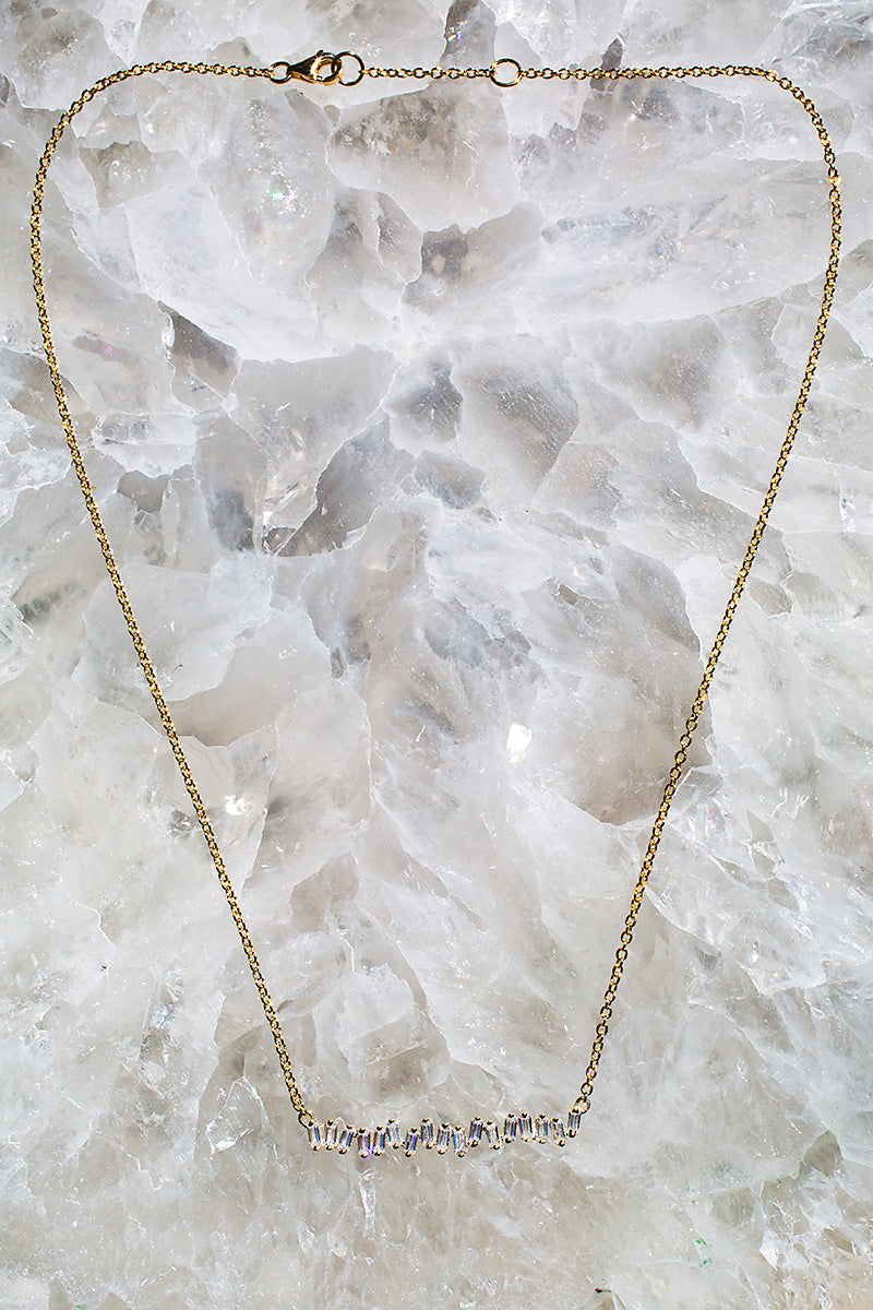 multi baguette diamond and gold necklace