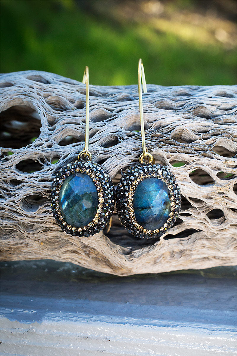 Labradorite V hook hoops