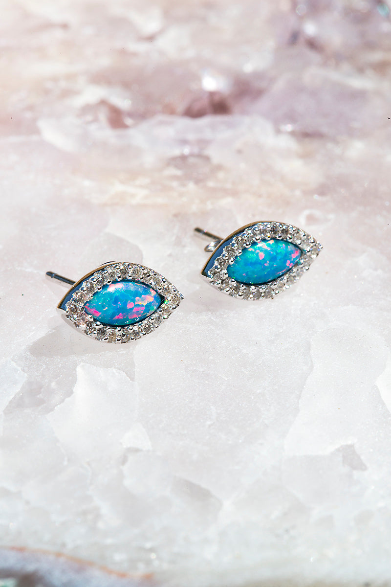 marquis teal opal stud earrings