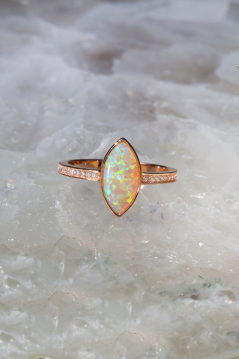 VISIONS opal ring in 14K rose gold vermeil + white opal