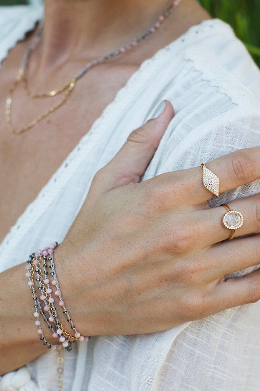 PInk opal wrap bracelet and rings