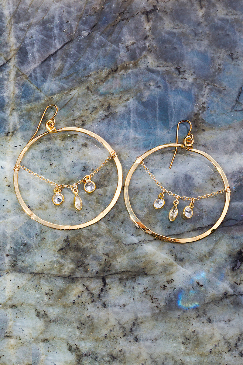 Circle charm hoop earrings