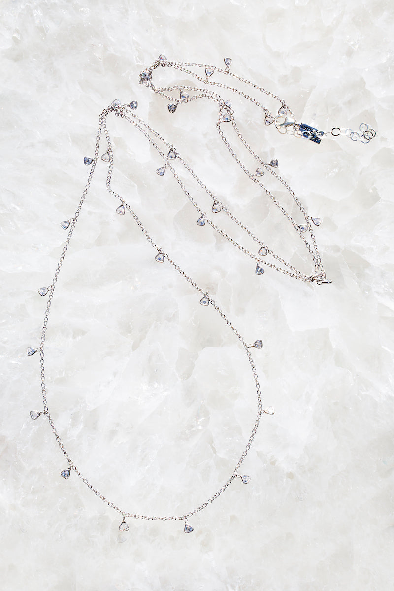 sterling silver multi diamond long necklace