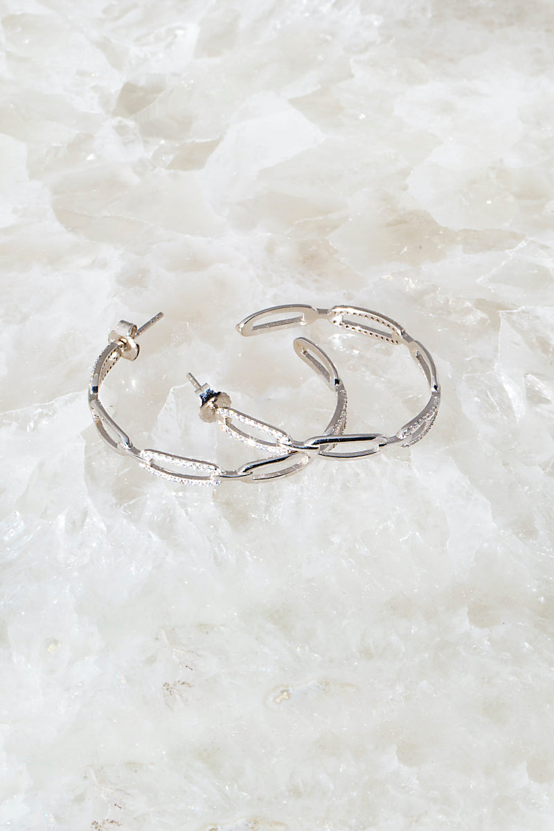 silver chain link hoops