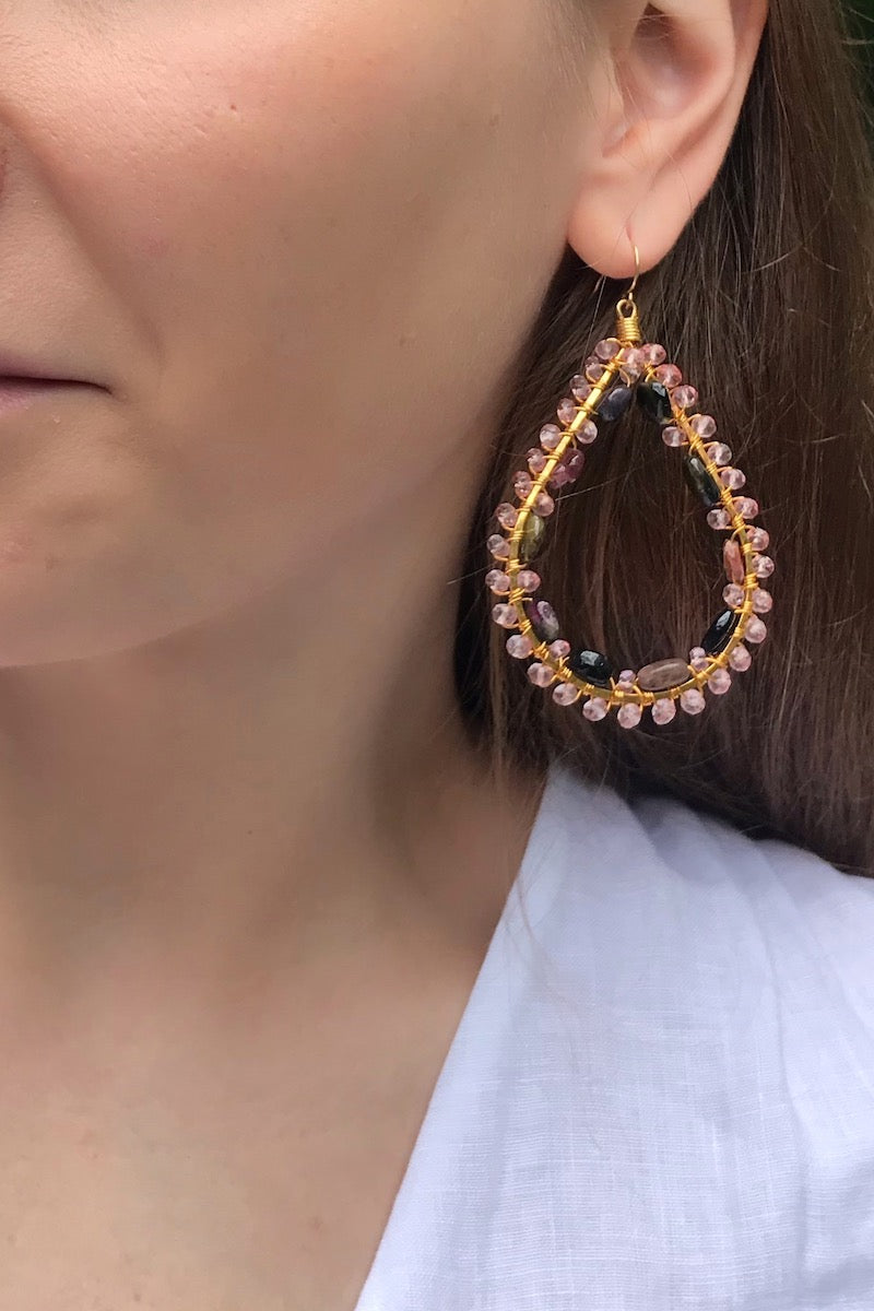 rainbow tourmaline teardrop earrings