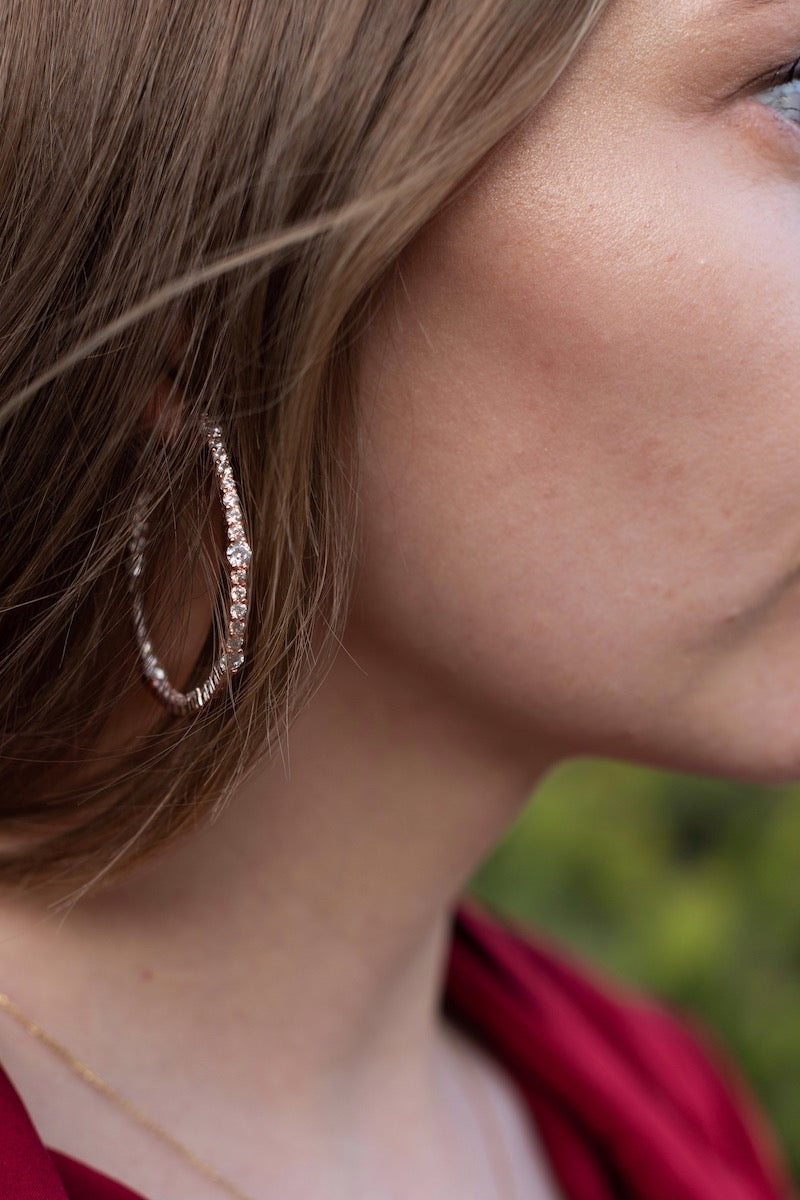Rose gold cz hoops