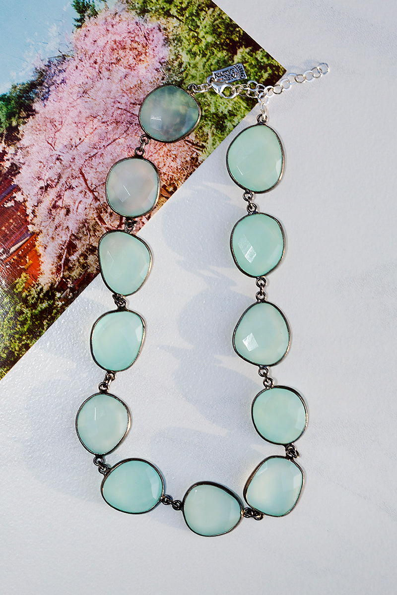 Aqua gemstone necklace