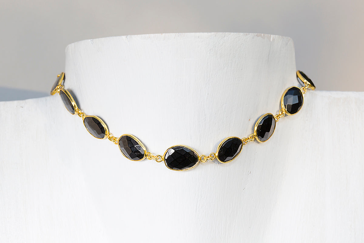 black choker gemstone necklace