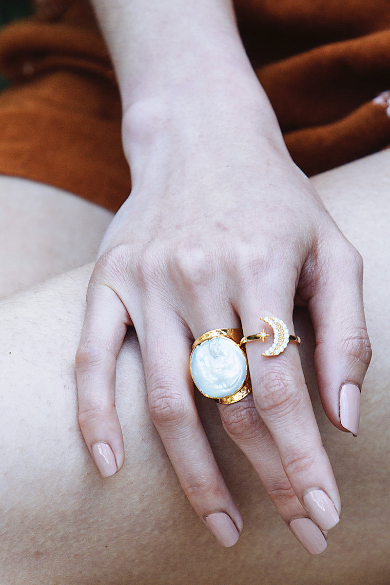 pearl and gold crescent moon ring