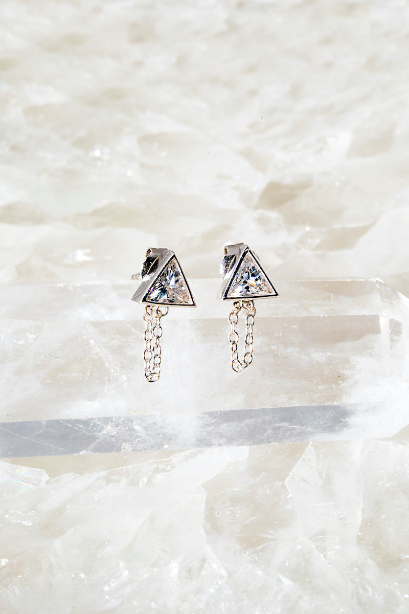 Sterling silver triangle chain stud earring