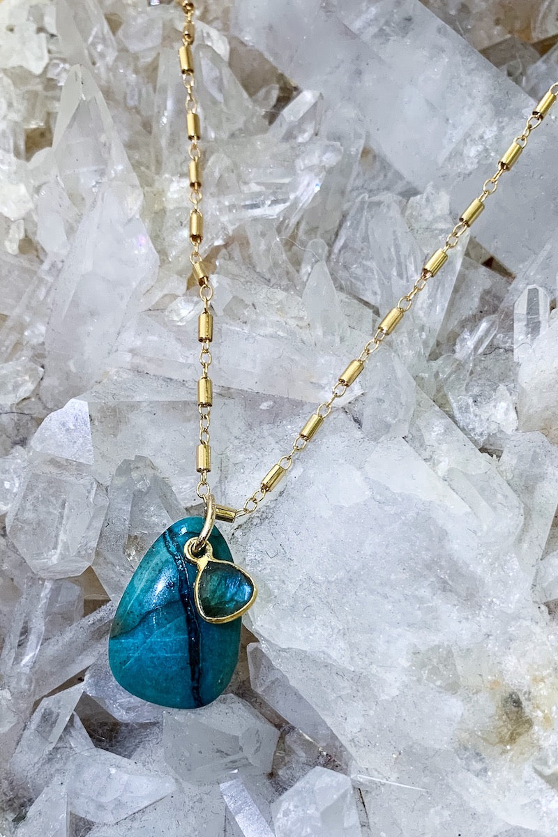Turquoise labradorite necklace