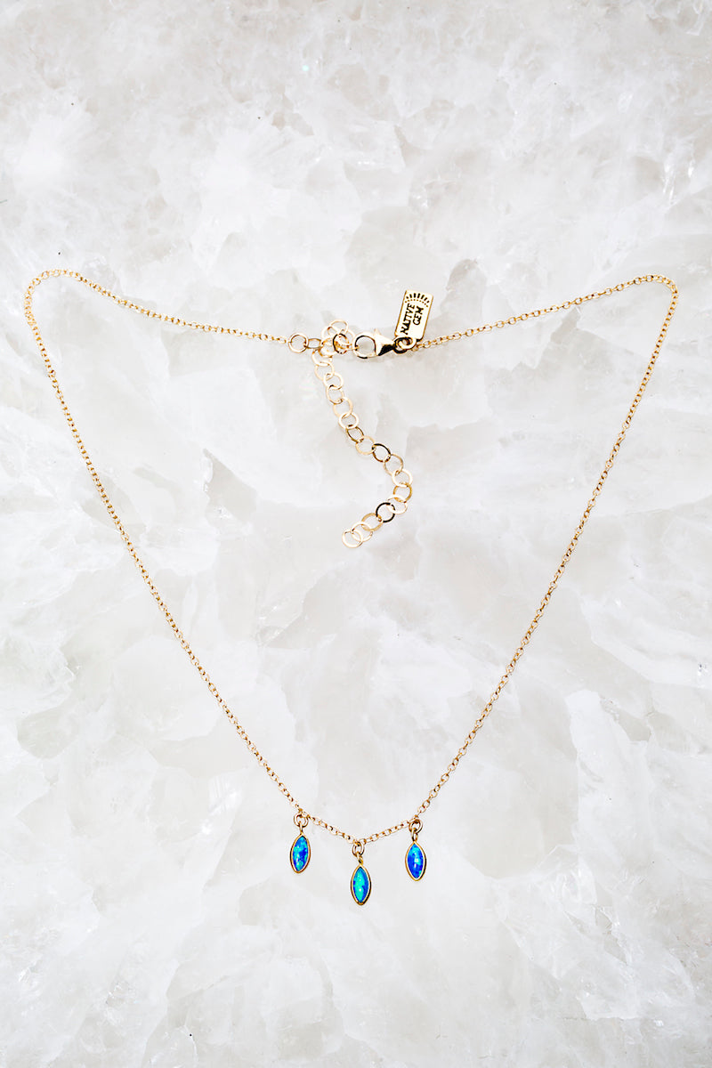 blue opal tiny necklace
