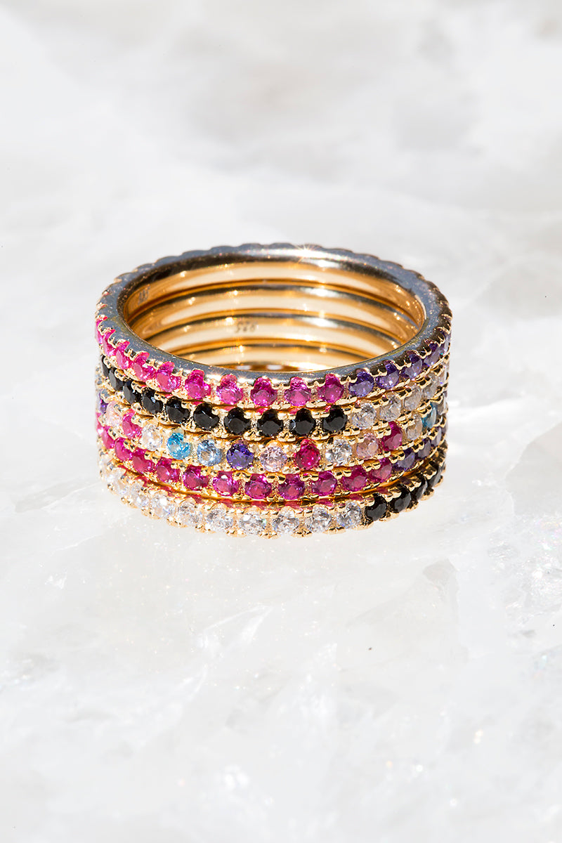 Mixed rainbow ring stack