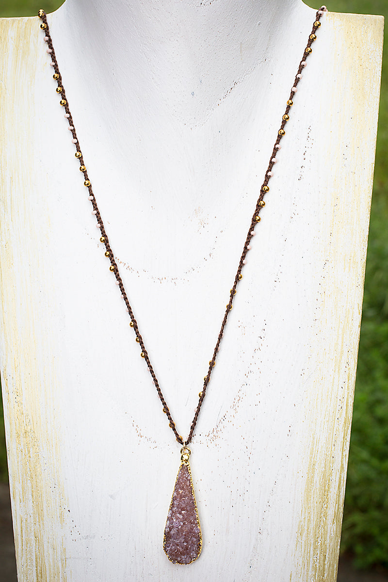 long druzy teardrop necklace