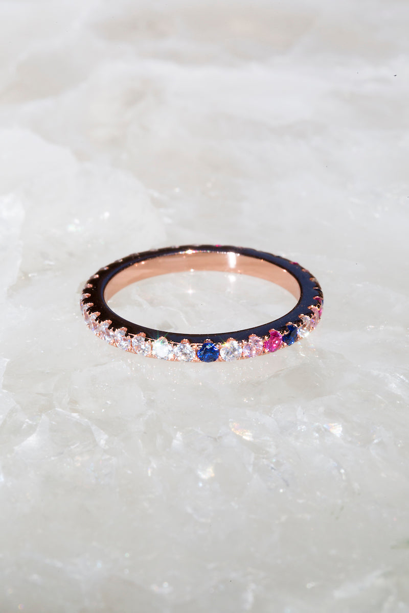 Multi colored rose eternity band