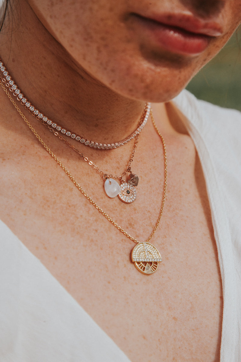 rose gold diamond and evil eye tennis necklace